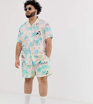 43dc9e70a8 Asos Design DESIGN Plus two-piece slim shorter shorts in hawaiian print