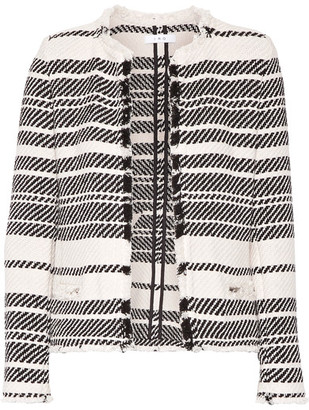 IRO - Zlata Striped Cotton-blend Tweed Jacket - Ivory $610 thestylecure.com