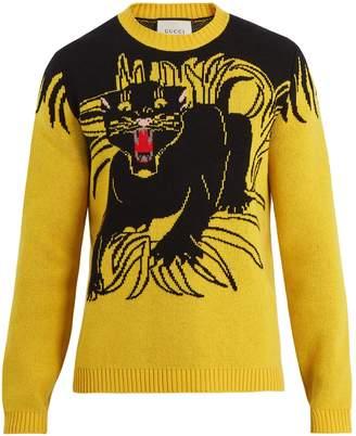 Gucci Panther intarsia-knit wool sweater