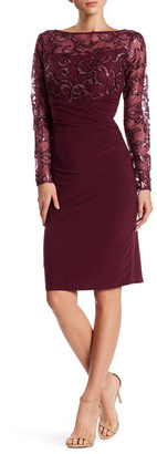 Marina Illusion Yoke Embroidered Gathered Dress $149 thestylecure.com