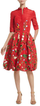 Oscar de la Renta Elbow-Sleeve Botanical-Embroidered Bubble-Hem Day Dress