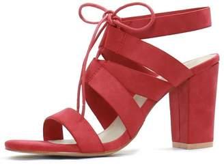 Unique Bargains Womens Chunky High Heels Cutout Detail Lace Up Sandals