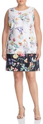 Adrianna Papell Plus Sleeveless Floral-Print Shift Dress