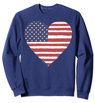 American Flag Heart Stars And Stripes Graphic Sweatshirt