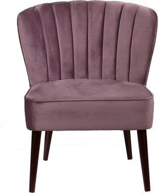 Generic Channeled Back Armless Accent Chair in Luxor Lilac