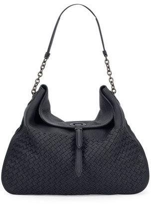 Bottega Veneta Intrecciato Cervo Flap-Top Hobo Bag, Denim Blue $3,100 thestylecure.com