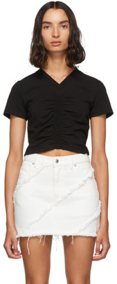 Alexander Wang Black Cropped Ruched T-Shirt