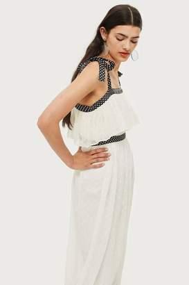 Topshop Polka Dot Strappy Midi Dress