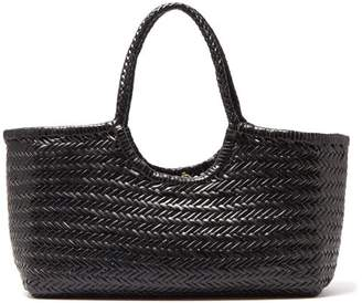 Dragon Optical Diffusion - Nantucket Large Woven Leather Tote Bag - Womens - Black