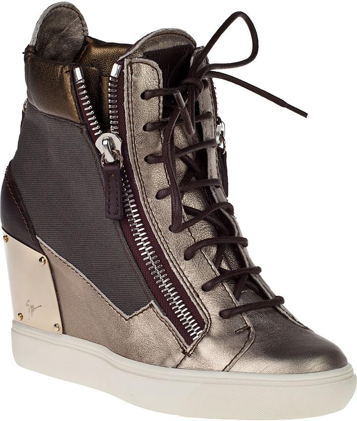 Giuseppe Zanotti Metallic Wedge Sneaker Bronze Leather