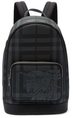 Burberry Ekd London Check And Leather Backpack - Mens - Grey