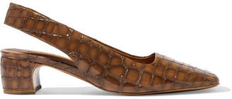 BY FAR - Danielle Croc-effect Leather Slingback Pumps - Brown