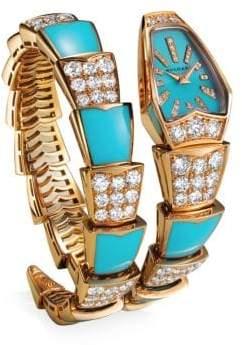 Bvlgari Serpenti Jewellery Rose Gold, Turquoise& Diamond Single Twist Watch - Rose Gold