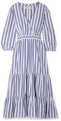 Madewell Wrap-effect Striped Cotton Dress