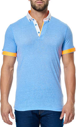 Maceoo Men's Contrast-Trim Roll-Sleeve Polo Shirt