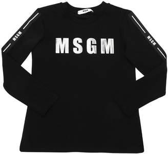 MSGM Metallic Logo Cotton Jersey T-Shirt