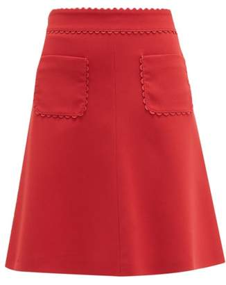 RED Valentino Scalloped Patch Pocket Crepe Mini Skirt - Womens - Red