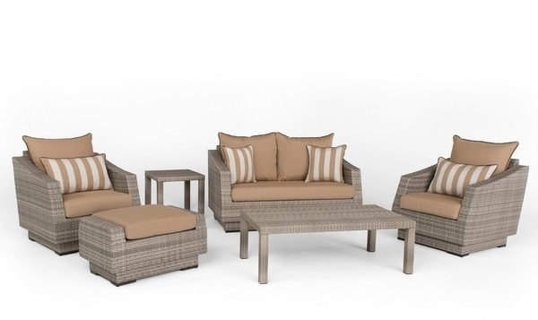 RST Brands Cannes Maxim Beige Sunbrella and Resin Wicker 6-piece Love Seat and Club Chair Set