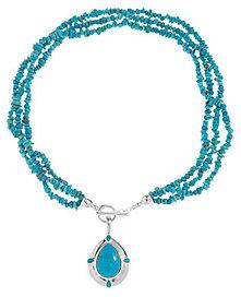 "American WestAmerican West Kingman Turquoise Enhancer w/ 20""Bead Necklace"