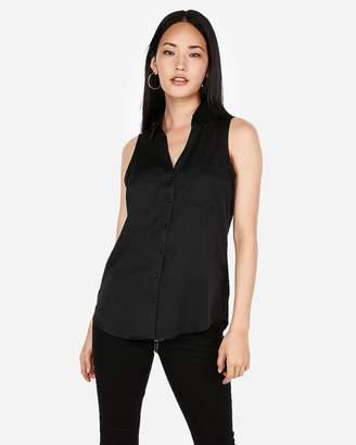 Express Slim Sleeveless Satin Portofino Shirt