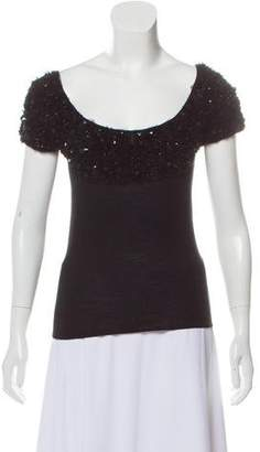 Givenchy Embellished Cap-Sleeve Knit Top