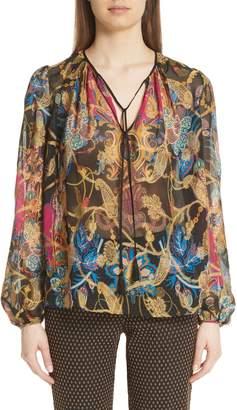 Etro Tassel & Paisley Print Silk Blend Blouse