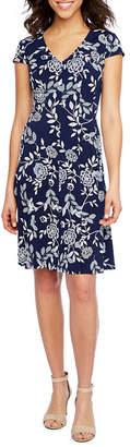 Studio 1 Cap Sleeve Floral Puff Print Fit & Flare Dress