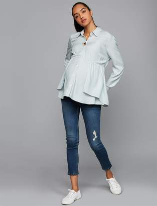 Luxe Essentials Denim Side Panel Addison Skinny Ankle Maternity Jeans