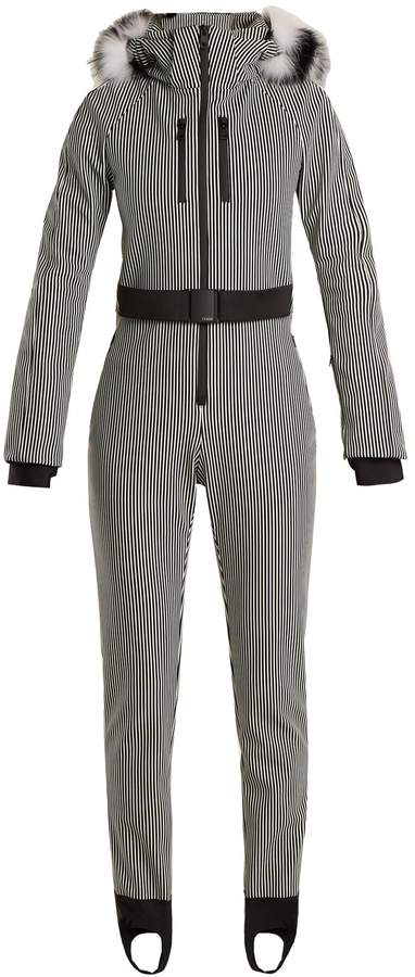 FENDI Fur-trimmed striped ski jumpsuit