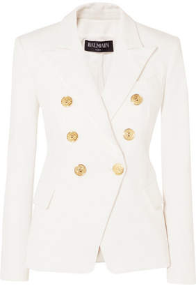 Balmain - Double-breasted Denim Blazer - White