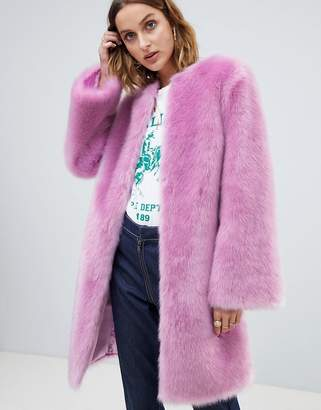 Asos Design DESIGN faux fur midi coat with flared sleeve