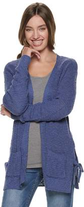 So Juniors' SO Side Tie Open Front Cardigan