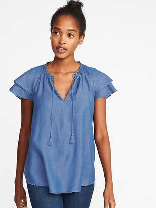 Old Navy Ruffle-Sleeve Tassel-Tie Tencel® Top for Women