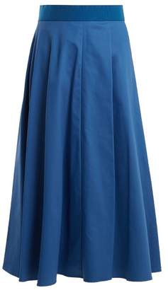 Sportmax Fiumana Cotton Blend Midi Skirt - Womens - Blue Stripe
