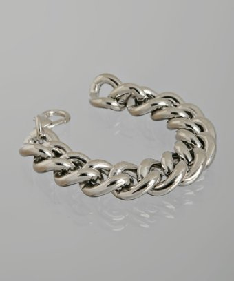 M+J Savitt silver polished rope chain bracelet