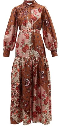 Evi Grintela Elsa Patchwork Print Silk Maxi Shirt Dress - Womens - Pink Print