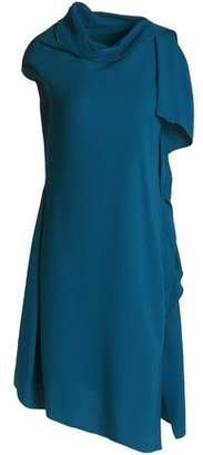 Roland Mouret Arundel Asymmetric Draped Textured-Crepe Dress
