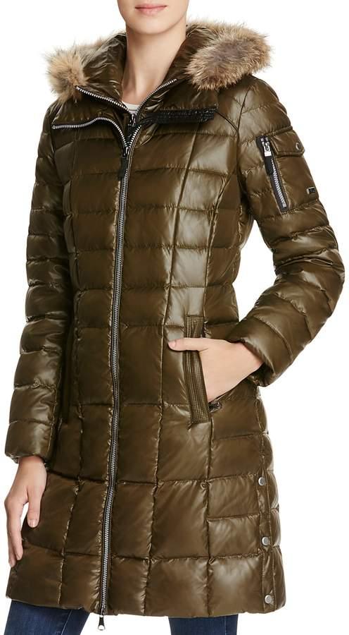 Andrew Marc Lindsay Fur Trim Down Coat