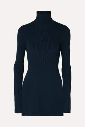 Peter Do - Open-back Ribbed-knit Turtleneck Top - Navy