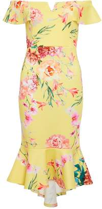 Quiz Lemon & Pink Floral Frill Bardot Dress