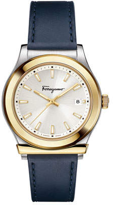 Salvatore Ferragamo Men's 1898 3-Hand Date Watch with Leather Strap, Silver/Gold/Blue