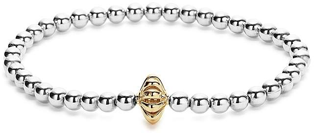 LAGOS 18K Gold and Sterling Silver Stretch Bracelet with Caviar Icon Bars