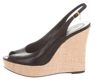 Christian Dior Slingback Peep-Toe Wedges