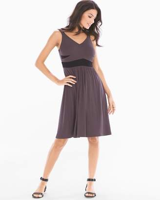 Soft Jersey Wrapped Front Sleeveless Dress Dark Espresso
