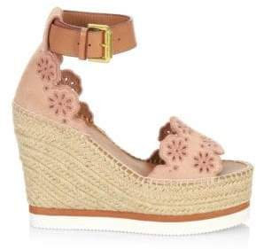 See by Chloe Laser-Cut Suede Wedge Espadrilles