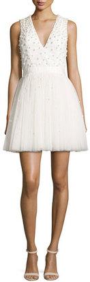 Alice + Olivia Shanda Embellished Party Dress, Cream $795 thestylecure.com