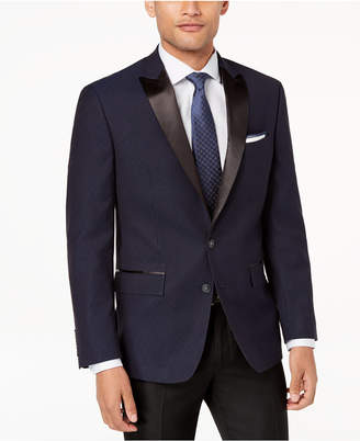 Ryan Seacrest Distinction Men's Modern-Fit Stretch Blue Black Neat Dinner Jacket, Created for Macy's