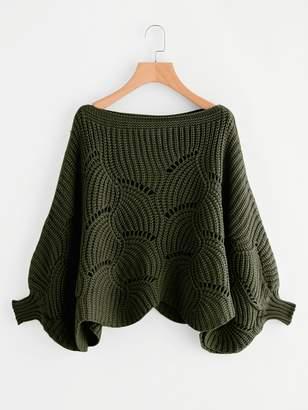 Shein Plus Dolman Sleeve Scallop Hem Eyelet Sweater