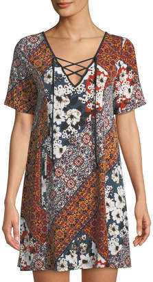 BCBGeneration Floral Lace-Up Short-Sleeve Sheath Dress