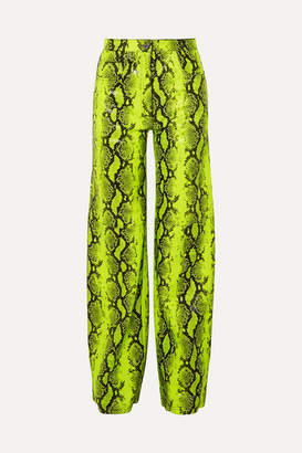 Off-White Neon Snake-effect Leather Straight-leg Pants - Lime green